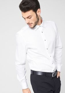 Slim: shirt with turn-up cuffs